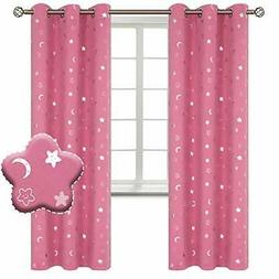 Moon and Stars Blackout Curtains for Girls Bedroom Grommet T