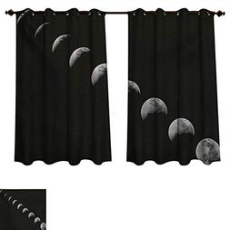 Moon Phases Blackout Thermal Backed Curtains for Living Room