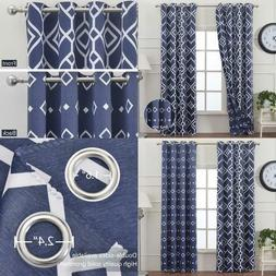 Moroccan Print Blackout Curtains Reversible Thermal Insulate