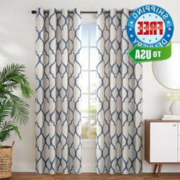 jinchan Moroccan Tile Blue Linen Textured Curtains Blackout