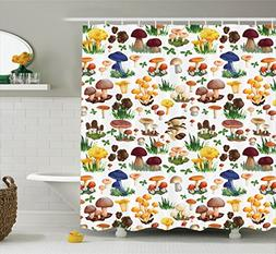 Ambesonne Mushroom Decor Shower Curtain Set, Pattern with Ty