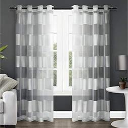 Exclusive Home Navaro Striped Sheer Grommet Top Curtain Pane