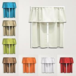 3 Piece Set Decorative Beth Blackout Modern Kitchen Curtain