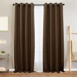 New Linen Textured Curtains Brown Blackout 95 inches Long Wi