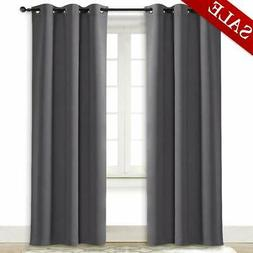 NICETOWN Gray Curtain Blackout Drape Panel Three Pass Microf