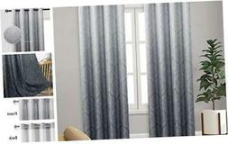 Ombre Blackout Curtains for Bedroom - Damask Patterned Therm
