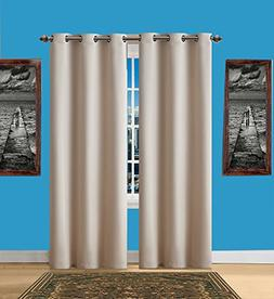 Infinite Home Beauty One Pair  of Ivory Blackout Curtains wi