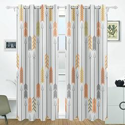 ALIREA Orange Yellow And Gray Arrows Blackout Curtains Darke