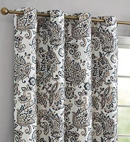 Paisley Faux Silk Blackout Room Darkening Thermal Lined Curt