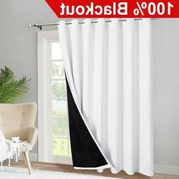 RYB HOME Sliding Glass Door 100% Blackout Curtains Extra Wid