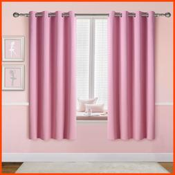 PINK Blackout Curtains For Girls Bedroom Grommet Thermal Ins