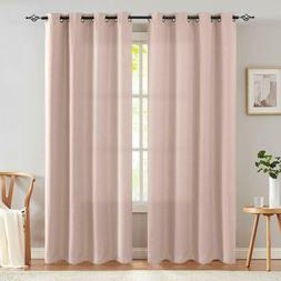 JinChan Pink Curtains Living Room Darkening Grommet Curtain