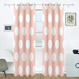 AIDEESS Pink Polka Dot Room Darkening Thermal Insulated Grom