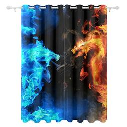 ALAZA Polyester Curtains Fair and Water Blue and Red Dragon
