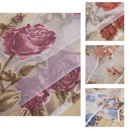 Print Rose Tulle Curtains for Girls Room Window Drape Space