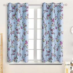 BGment Printed Blackout Curtains for Bedroom with Birds Flor
