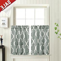 Printed Tier Curtains for Kitchen Moroccan Tile Pattern Shor