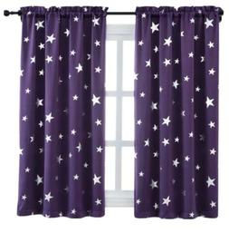 Purple Blackout Window Curtains For Bedroom 2 Panels Star Pa