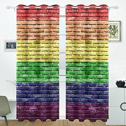 ALIREA Rainbow Flag Brick Wall Blackout Curtains Darkening T