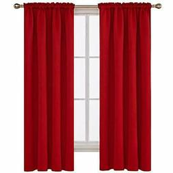 red blackout curtains rod pocket drapes window