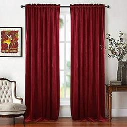 RYB HOME Red Velvet Curtains for Kids Room Window Tratment C