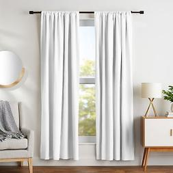 "AmazonBasics Blackout Curtain Set - 52"" x 84"", White"
