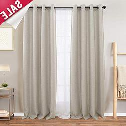 Beige Curtains 84 Linen Textured Room Darkening Curtains for