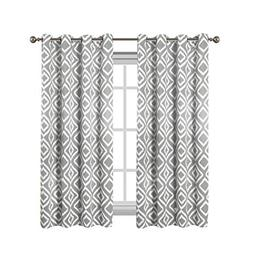 Flamingo P Blackout Curtains with Gray Ikat Fret Pattern for