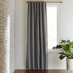 Rivet Room Darkening Textured Solid Thermal Weave Curtain, O