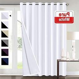 Extra Wide Blackout White Curtains for Patio Sliding Door, E