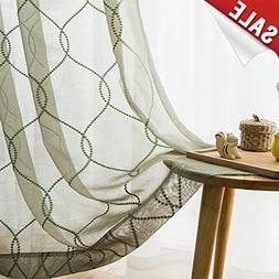 jinchan Sage Sheer Curtains for Living Room Embroidered Wavy