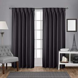 Exclusive Home Sateen Woven Blackout Pinch Pleat Curtain Pan