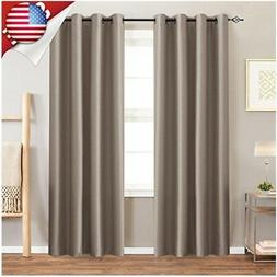 jinchan Satin Blackout Curtain Drapes for Living Room, Energ
