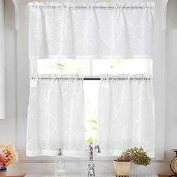 Sheer Kitchen Curtain Sets with Valance 3 Pcs Moroccan Trell