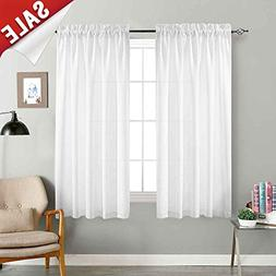 jinchan White Sheer Curtains for Bedroom 72 Inch Long Voile