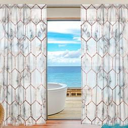 ALAZA Sheer Window Curtains Voile Panels Abstract Marble Wit