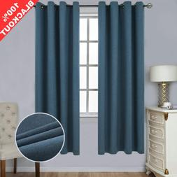 SimplyEasy 100% Blackout Navy Curtains for Bedroom Thermal I