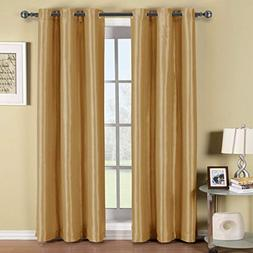 Royal Hotel Soho Gold Grommet Blackout Window Curtain Panel,
