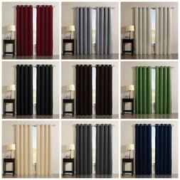 solid grommet thermal insulated blackout curtain window