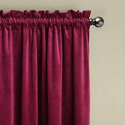 ChadMade Set of 2 Solid Matt Velvet Curtain Panel Drapes Rod