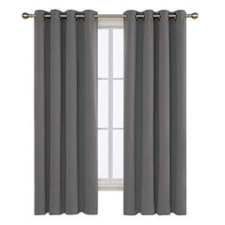 Deconovo Solid Room Darkening Curtains Thermal Insulated Bla