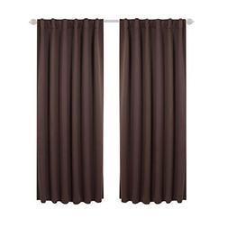 Deconovo Solid Thermal Insulated Blackout Curtains Back Tab