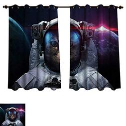 RuppertTextile Space Cat Blackout Thermal Curtain Panel Cosm