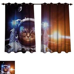 RuppertTextile Space Cat Blackout Thermal Curtain Panel Kitt