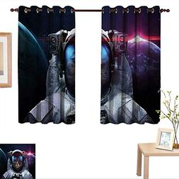 BlountDecor Space Cat Thermal Insulating Blackout Curtain Co