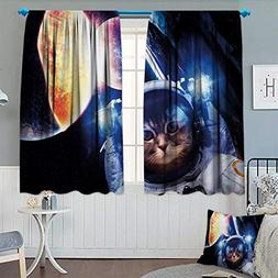 Space Cat Waterproof Window Curtain Kitten with Space Suit P