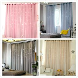 Star Blockout Blackout Curtains 2 Layers Eyelet Pure Fabric