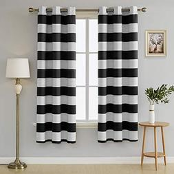 Deconovo Striped Blackout Curtains Grommet Black and Greyish
