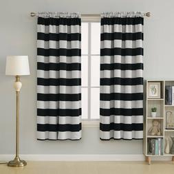 Striped Blackout Curtains Rod Pocket Curtains for Living Roo