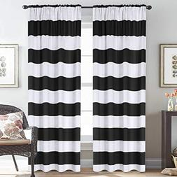 H.VERSAILTEX Striped Pattern Thermal Insulated Curtains  Rod